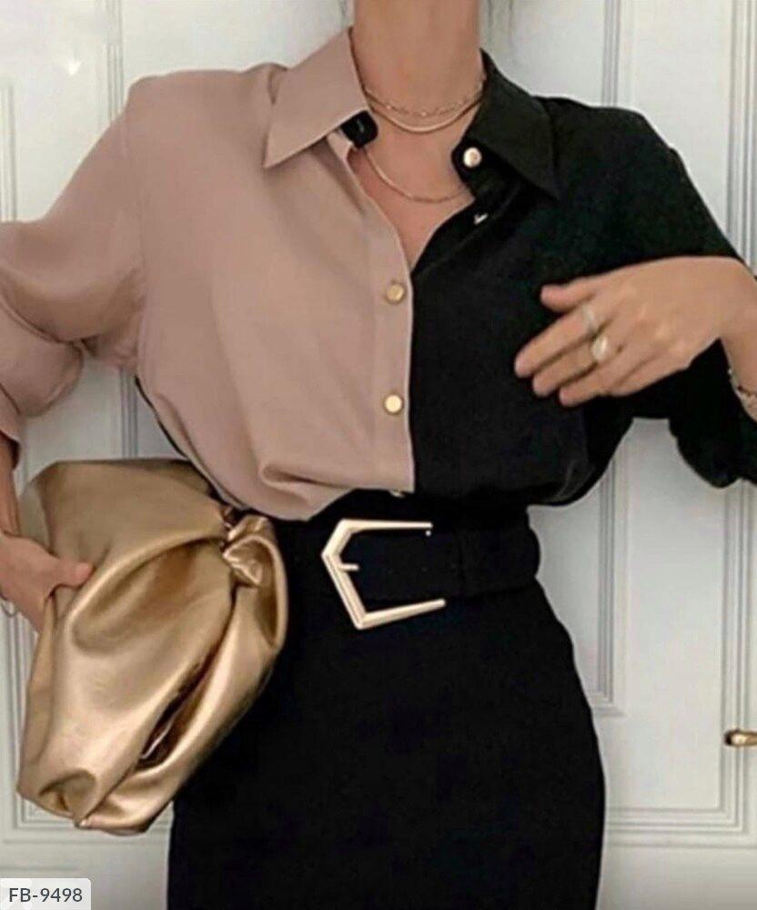 Жіноча двоколірна блузка (Батал)