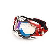 Очки кроссовые VEMAR MJ-1015 (бело-красные, стекло темное)