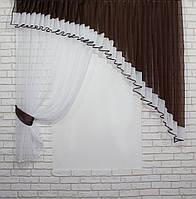 Кухонный комплект (180х170см), шторка с ламбрекеном. На карниз 1,8м. Цвет венге с белым. Код 062к 50-383, фото 1