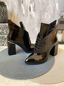 Элегантные супер модные ботильоны лаковые с каблуком и острым носком, размер от 35 до 40