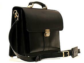 Деловой мужской кожаный портфель ручной работы с плечевым ремнем. Цвет черный
