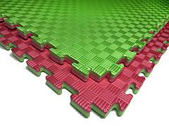 Татами мат EVA 120 кг/м3 26 мм 1х1м (красно-зеленые) (MF 3070)