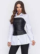Белая рубашка с чёрным корсетом из экокожи