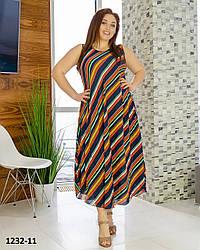 Легкое женское платье без рукавов размеры 54-58