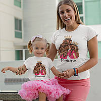 Футболки мама дочка (комплект Family Look с короной ) Princesses