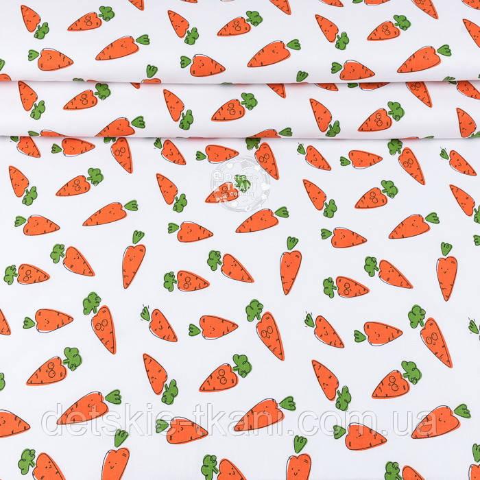 """Ранфорс шириной 240 см с принтом """"Морковки с глазками"""" на белом (№3389)"""