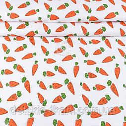 """Ранфорс шириною 240 см з принтом """"Морквинки з очима"""" на білому (№3389)"""
