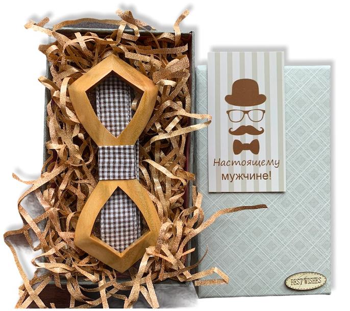 Деревянная бабочка - Галстук объемная с вырезом в подарочной упаковке 8121