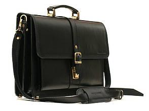 Деловой классический мужской кожаный портфель ручной работы с плечевым ремнем. Цвет черный