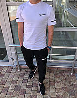 Весняний спортивний костюм чоловічий білий/чорний Nike (3 кольори) ПН/-2887