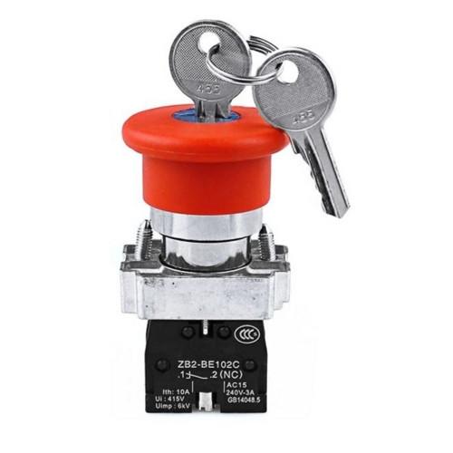 """Кнопка управления XB2-BS142 нажимная с фиксацией и ключем красная """"Стоп"""""""
