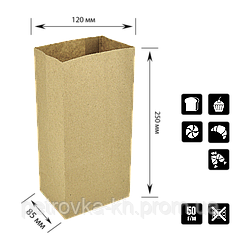 Паперовий пакет без ручок крафтовый з прямокутним дном 120х85х250мм (ШхГхВ) 50г/м2 300шт (90)