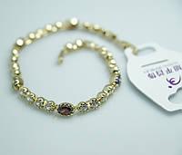 Изящный женский браслет усыпанный кристаллами. Позолоченная бижутерия Xuping  для женщин оптом и розницу. 37