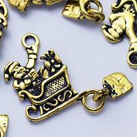 Кулон Дед Мороз, Металл, Цвет: Античное Золото, Размер: 30х15х1мм, Отверстие 2мм, (УТ0024671)