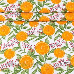 """Ранфорс шириною 240 см з принтом """"Барбарис і дольки апельсина"""" на білому (№3392)"""