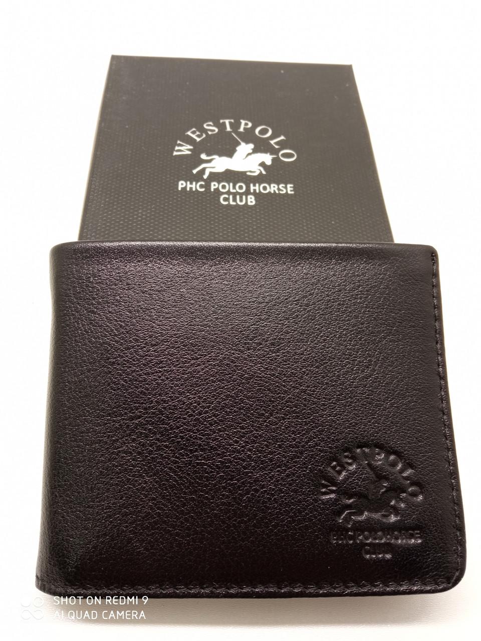 Тонкое кожаное портмоне кошелек West Polo