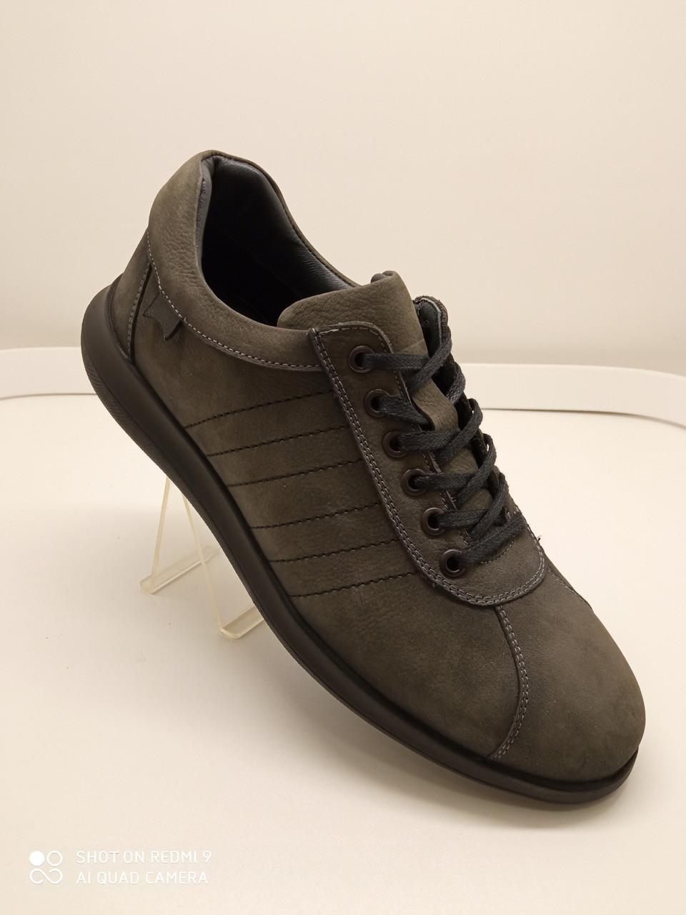 Туфлі чоловічі сірі з нубуку