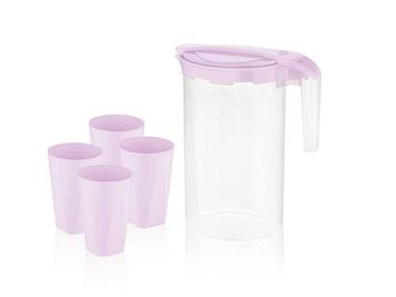Набір для напоїв глечик 1,6л+4стакани 350мл фіолет. №BG-424 L/0803/Bager/(12)