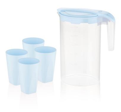 Набір для напоїв глечик 1,6л+4стакани 350мл №BG-424 B/0797/Blue/Bager/