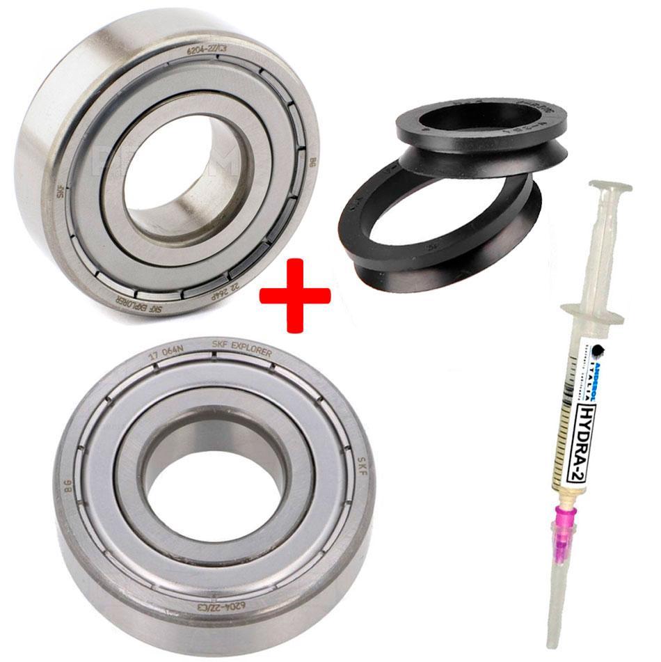 Подшипники для стиральных машин Bosch Siemens (ремкомплект подшипники 6204+6204 и сальник V-Ring VA-28)