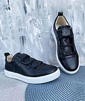 Черные туфли-слипоны мужские натуральная кожа с белой подошвой, размер от 40 до 45, фото 3