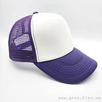 Бейсболка кепка фиолетового цвета с белой панелью
