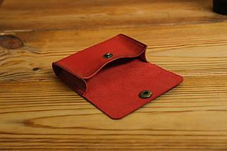 Визитница Кожа, Итальянский краст, цвет Красный, фото 3