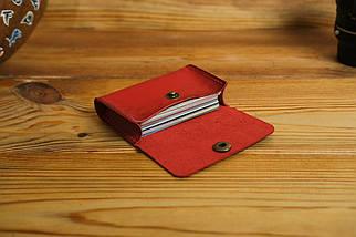 Визитница Кожа, Итальянский краст, цвет Красный, фото 2