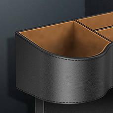 Автомобільний органайзер між сидіннями Baseus Elegant Car Storage Box Шкіра Чорний (CRCWH-01), фото 3
