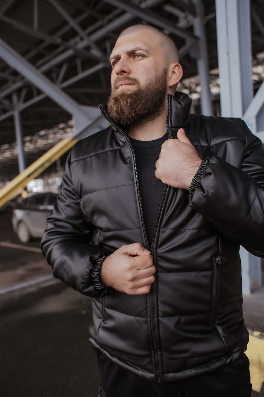 Мужская куртка кожаная Skipper демисезонная черная Intruder