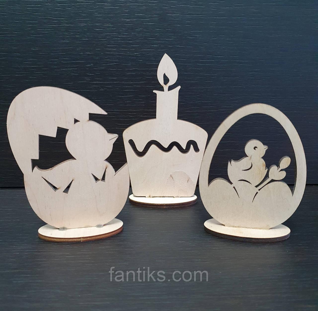 Дерев'яний великодній декор (статуетки) - набір 3 фігурки