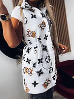Трендова подовжена жилетка жіноча з принтами (Норма і батал), фото 8