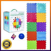 Коврик Ассорти +подарок мяч 10 элементов Ортопедический массажный коврик, Пазлы Ортодон детский, развивающий