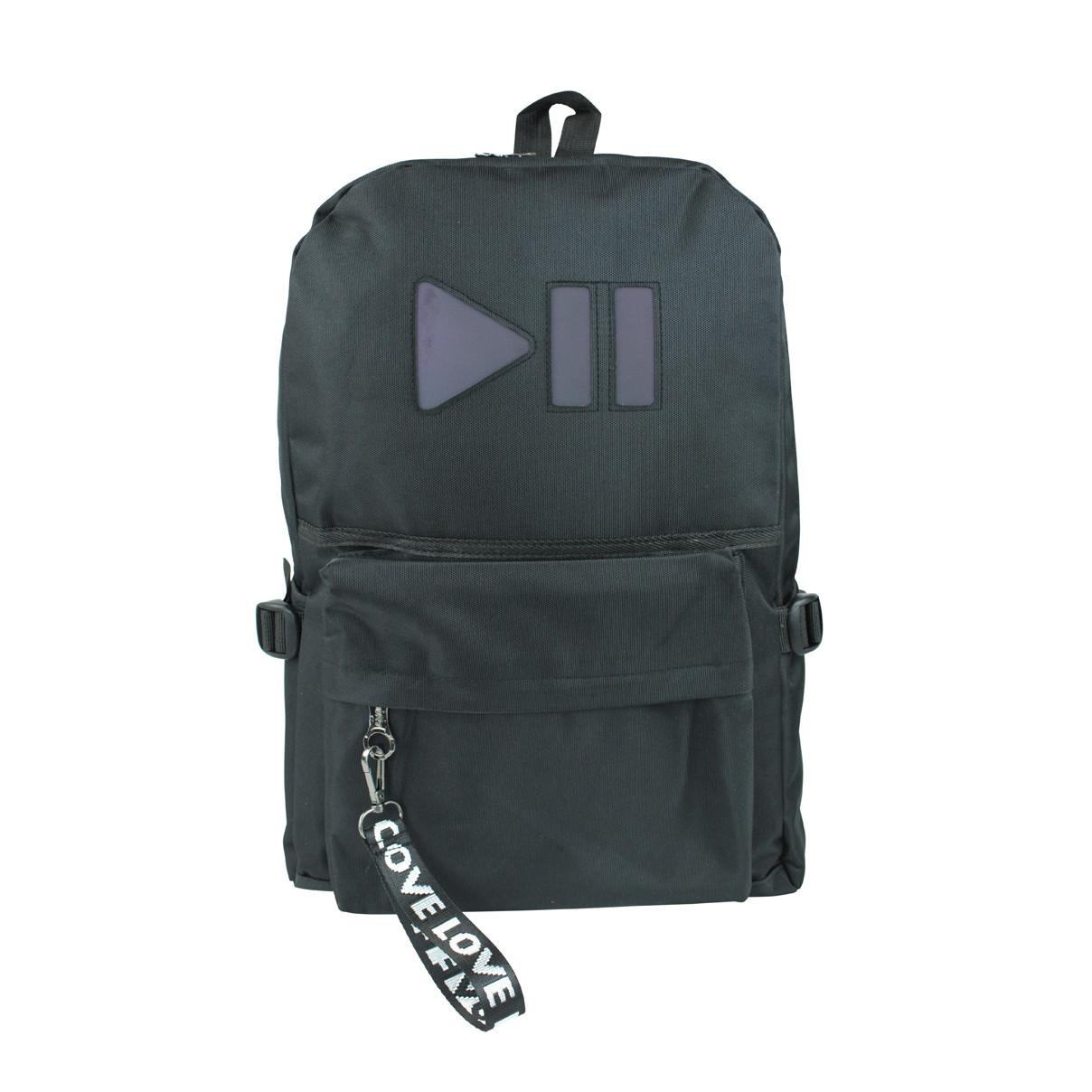 Рюкзак міський чорний з вставкою play pause