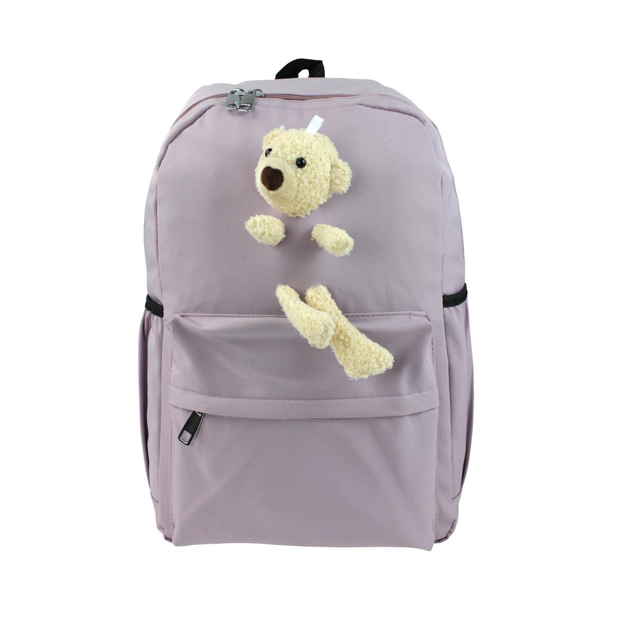 Рюкзак жіночий міський Ведмедик бузковий