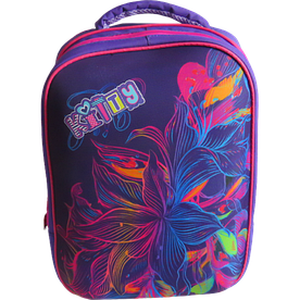 """Шкільний ортопедичний рюкзак """"черепашка"""" квіти для дівчинки, фіолетовий"""