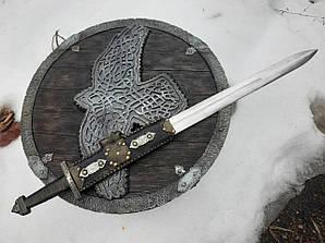 Кований меч ''Перун'' + Щит ''Орел'' - ручна робота, гравіровка, шліфовка, сталь Г90