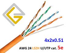 Кабель сетевой негорючий AWG LSZH 4х2х0,51 U/UTP-cat.5E для внутренней прокладки