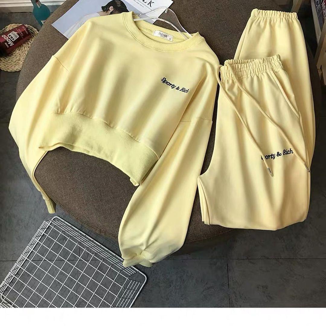 Женский спортивный костюм, турецкая двунить, р-р универсальный 42-46 (жёлтый)