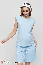 Футболка хлопковая для беременных и кормящих AYNA NR-21.042 голубая