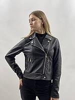 Женская кожаная куртка косуха черная экокожа большие размеры 50 52 54 56 58