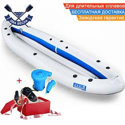 Двухместная байдарка надувная Ладья ЛБ-400К Базовая Караван надувной каяк Ладья байдарка туристическая