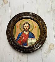 """Дерев'яна тарілка (ікона) """"Ісуса Христа"""" 21 см"""