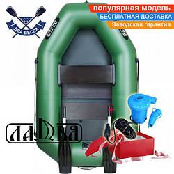 Надувная лодка Ладья ЛТ-190С одноместная гребная лодка пвх 850 слань-коврик гребки надувний гребний човен