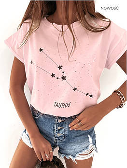 Женская трендовая футболка Зодиак в расцветках (Норма и полубатал)