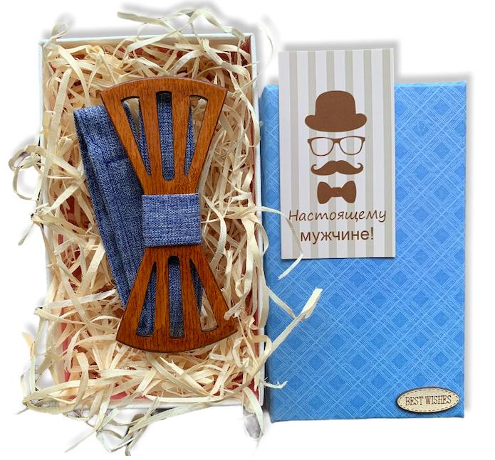 Дерев'яна метелик - Краватка з вирізами в подарунковій упаковці 8151