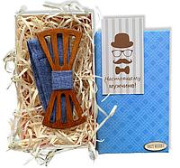 Дерев'яна метелик - Краватка з вирізами в подарунковій упаковці 8151, фото 1