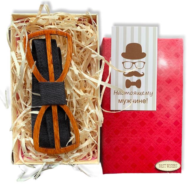Деревянная бабочка - Галстук с вырезами в подарочной упаковке 8267