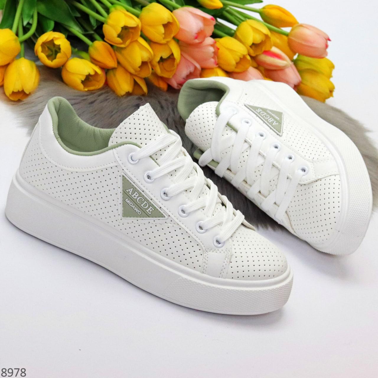 Жіночі кросівки - кеди білі з сірими еко-шкіра з перфорацією весна / літо/ осінь
