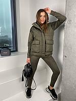 Женская стильная жилетка с накладными карманами на утеплителе силикон (Норма), фото 6